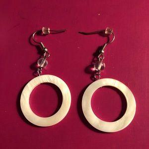 Jewelry - NWOT - Mother of Pearl Drop Hoop Earrings